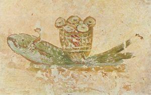 Катакомбы святого Каллиста. Евхаристический хлеб и рыба.