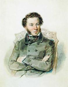 Портрет Пушкина А.С. работы Соколова П.Ф., 1836г., акварель
