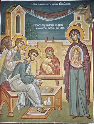 Luka-pishet-obraz-Bogorodici
